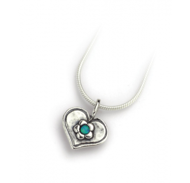 Silver Heart Necklace with Flower and Opal