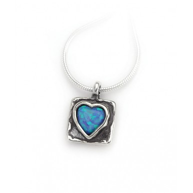 Silver Square Necklace with Opal Heart