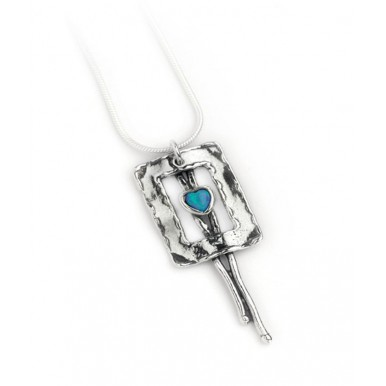 Silver Cut Out Square Necklace with Opal Heart