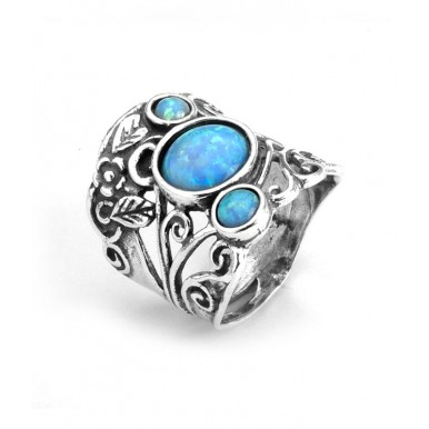 Sterling Silver 3 Opals Ring - Swirls and Leaves