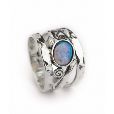 Sliver and Opal Swirl Ring - Wide