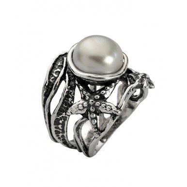 Starfish Textured Ring with Pearl