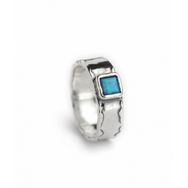 Sliver and Opal  Ring - Square Stone