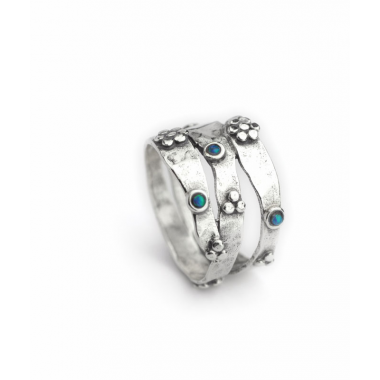 Sliver and Opal Flower Ring - Multi Wavy Band