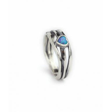 Sliver and Opal Heart Ring - Multi Band Thin