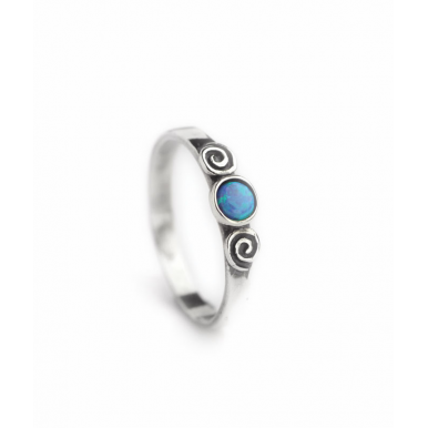 Sliver and Opal Ring - Swirls