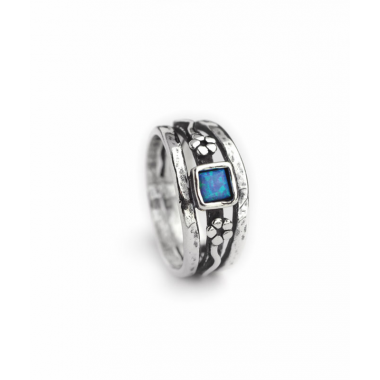 Sliver and Opal Flower Ring - Square Stone