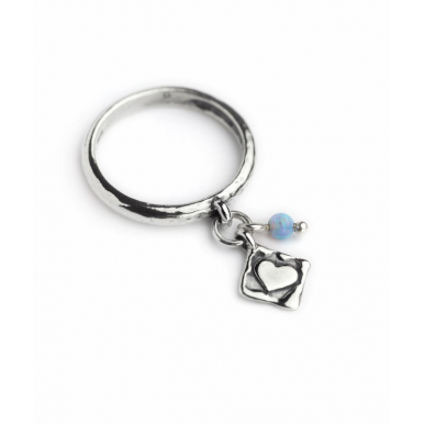 Silver, Opal and Heart Charm Dangle Ring - Last One