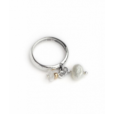 Silver and 9ct Gold and Pearls Dangle Ring