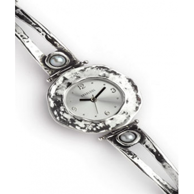 Sterling Silver and Pearl Circle Watch