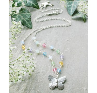 Alicia Sterling Silver Butterfly and Swarovski Crystal Necklace