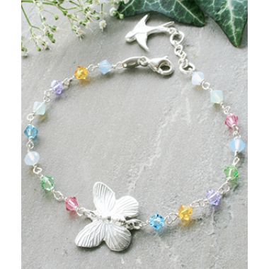 Adele Sterling Silver Butterfly and Swarovski Crystal Bracelet