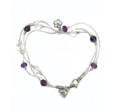 Sterling Silver Amethyst Beads Bracelet
