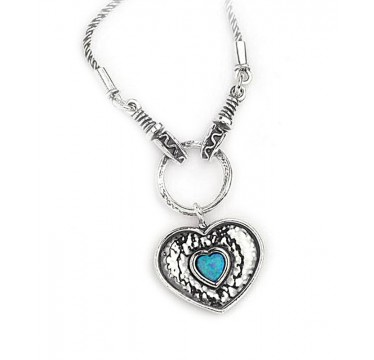 Chunky Heart with Little Opal Heart Necklace