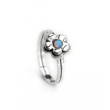 Daisy Silver Ring with Opal Stone - 2 left