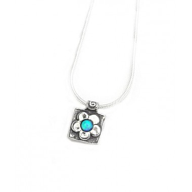Opal Daisy Square Pendant Necklace