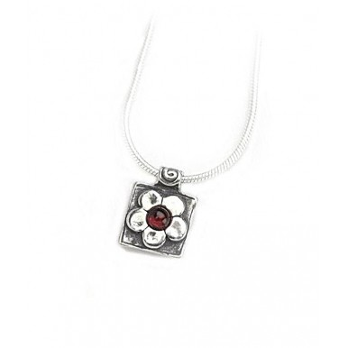 Garnet Daisy Square Pendant Necklace