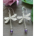 Delphine Sterling Silver Dragonfly and Semi-precious Stone Earrings