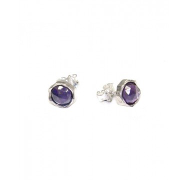 Silver and Amethyst Round Stud Earrings