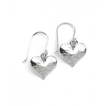 Hammered Heart Hook Earrings