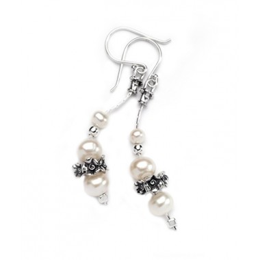 Pearl Earrings with Silver Beads