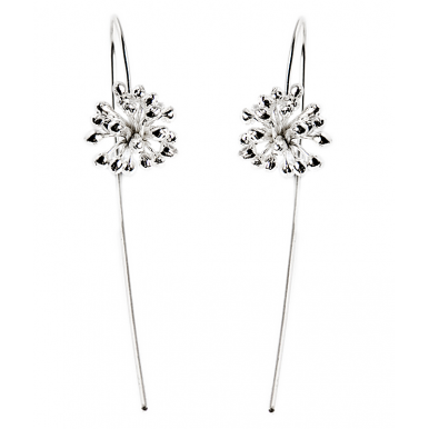 Long Hook Earrings - Silver Blossom