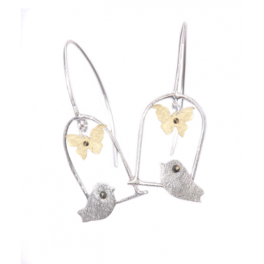 Silver and Gold Bird Swing Earrings