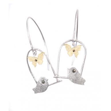Silver and Gold Bird Swing Earrings