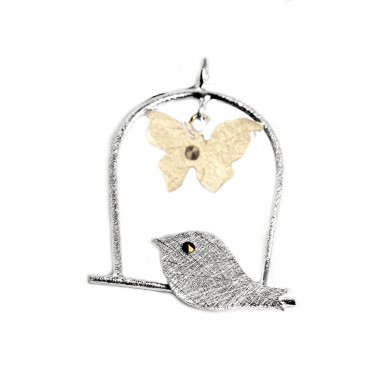 Silver and Gold Bird Swing Pendant