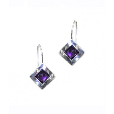 Silver and Amethyst Square Hook Earrings