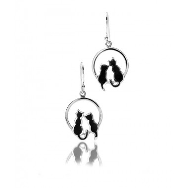 Cats on Moon Drop Earrings