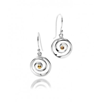 Spiral Drop Earrings with Gold Plating Detail