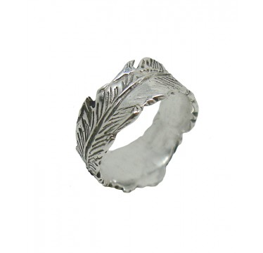 Handmade Wide Feather Wrap in Sterling Silver