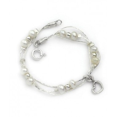 Freshwater Pearl Bracelet with Heart Charm