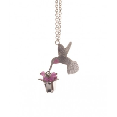 Small Single Humming Bird and Flower Necklace