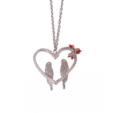 Love Birds in a Heart Necklace