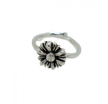 Handmade flower ring with twig band