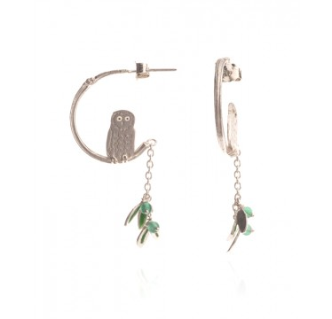 Owl In Tree Earrings
