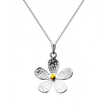 Hammered Sterling Silver and Brass Flower Necklace - Large