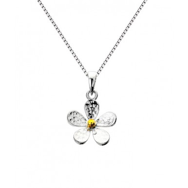 Hammered Sterling Silver and Brass Flower Necklace - Small