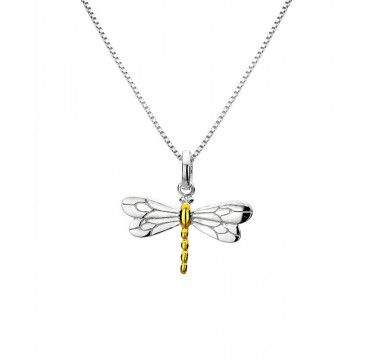 Dragonfly Necklace with Gold Plating Detail