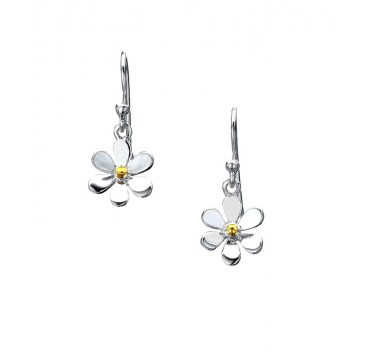 Single Daisy Drop Earrings with a Golden Center