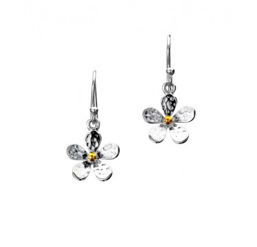 Hammered Sterling Silver and Brass Flower Drop Earrings