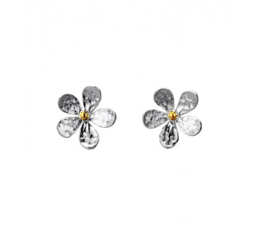 Hammered Sterling Silver and Brass Flower Studs