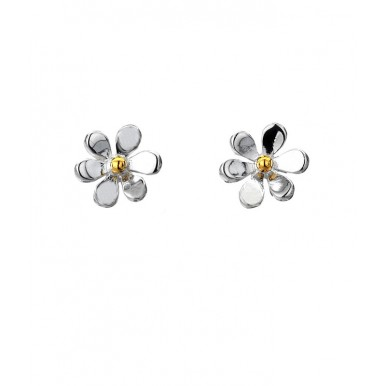 Single Daisy Stud Earrings with a Golden Center