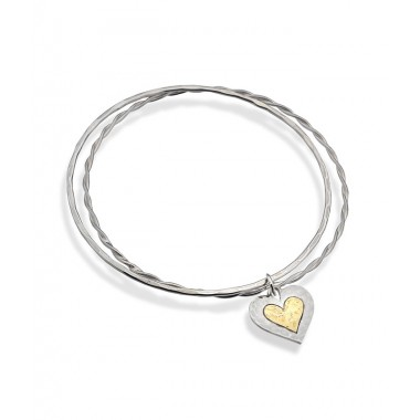 Bangle with Hammered Heart