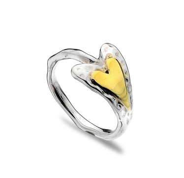 Textured Heart Ring with Golden Heart