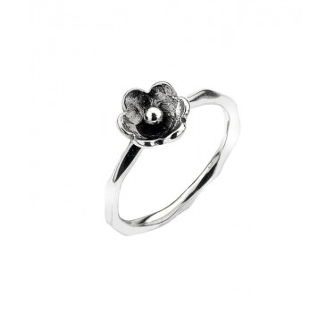 Textured  Ring with Small Patinaed Flower