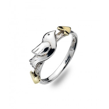 Love Bird Ring with Golden Hearts