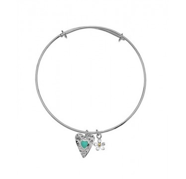 Turquoise Textured Heart Bangle with a Daisy Charm